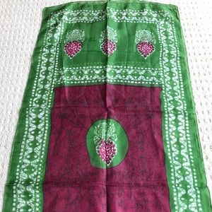 Accessories - Pure silk scarf long rectangle burgundy & green